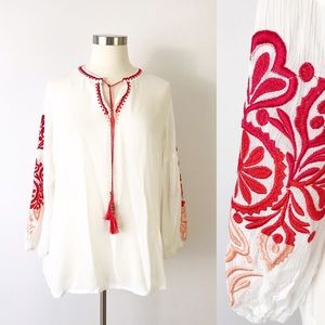 Solitare Embroidered Peasant Blouse White Red 1X
